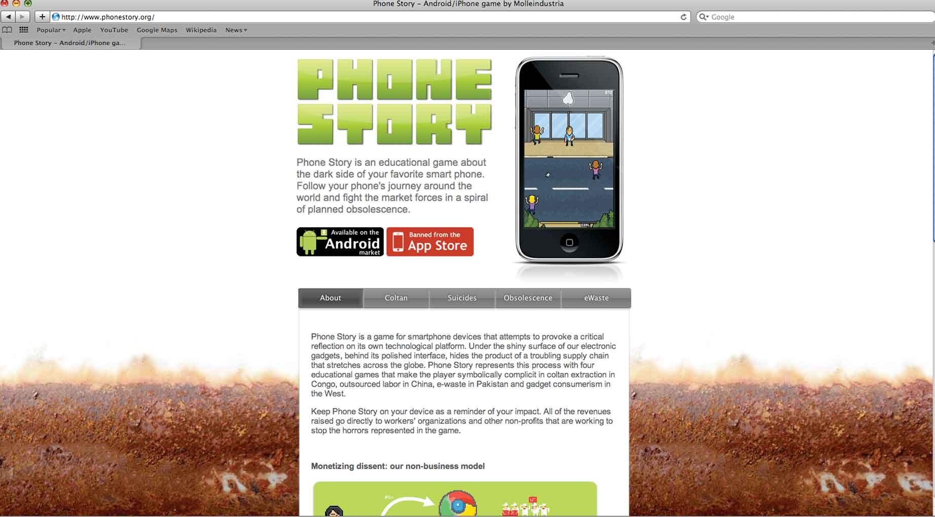 Phone Story, 2011, website screen shot. Phone Story is a game about the dark side of the smart phone industry. Created by Molleindustria in collaboration with The Yes Lab. <www.phonestory.org>