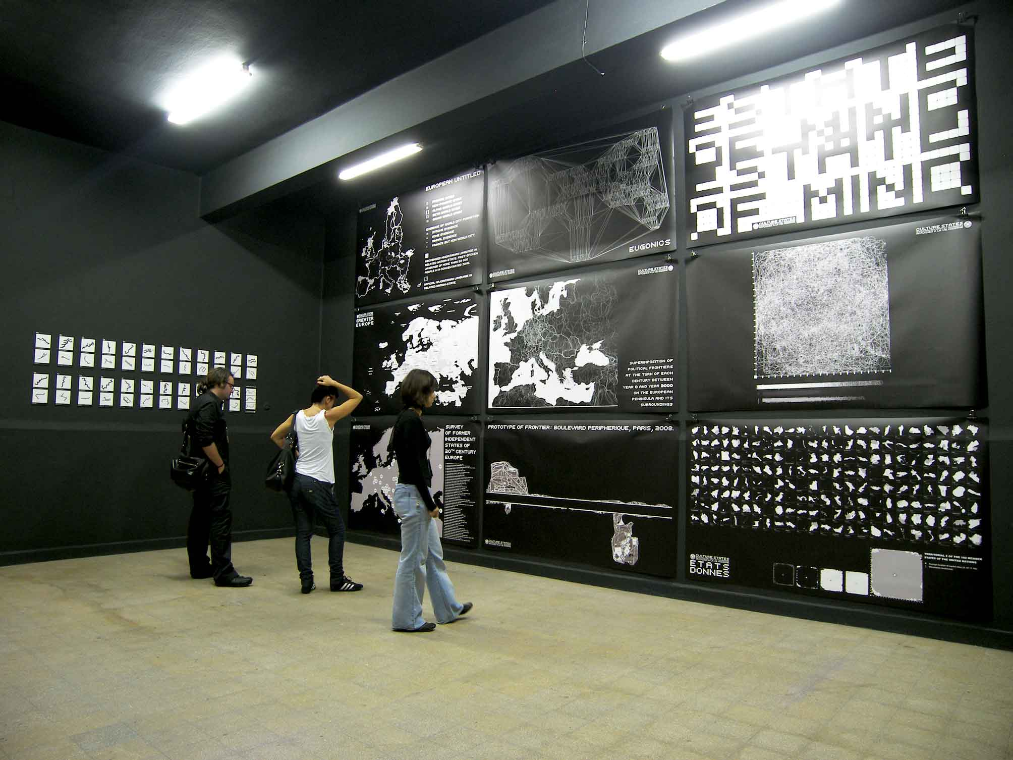 Société Réaliste, MA: Culture States, The future is the extension of the past by other means, 2009. Mural inscription with the Limes New Roman writing system. Installation view, Istanbul Biennial, 2009.  © Société Réaliste. Photo: Nathalie Barki