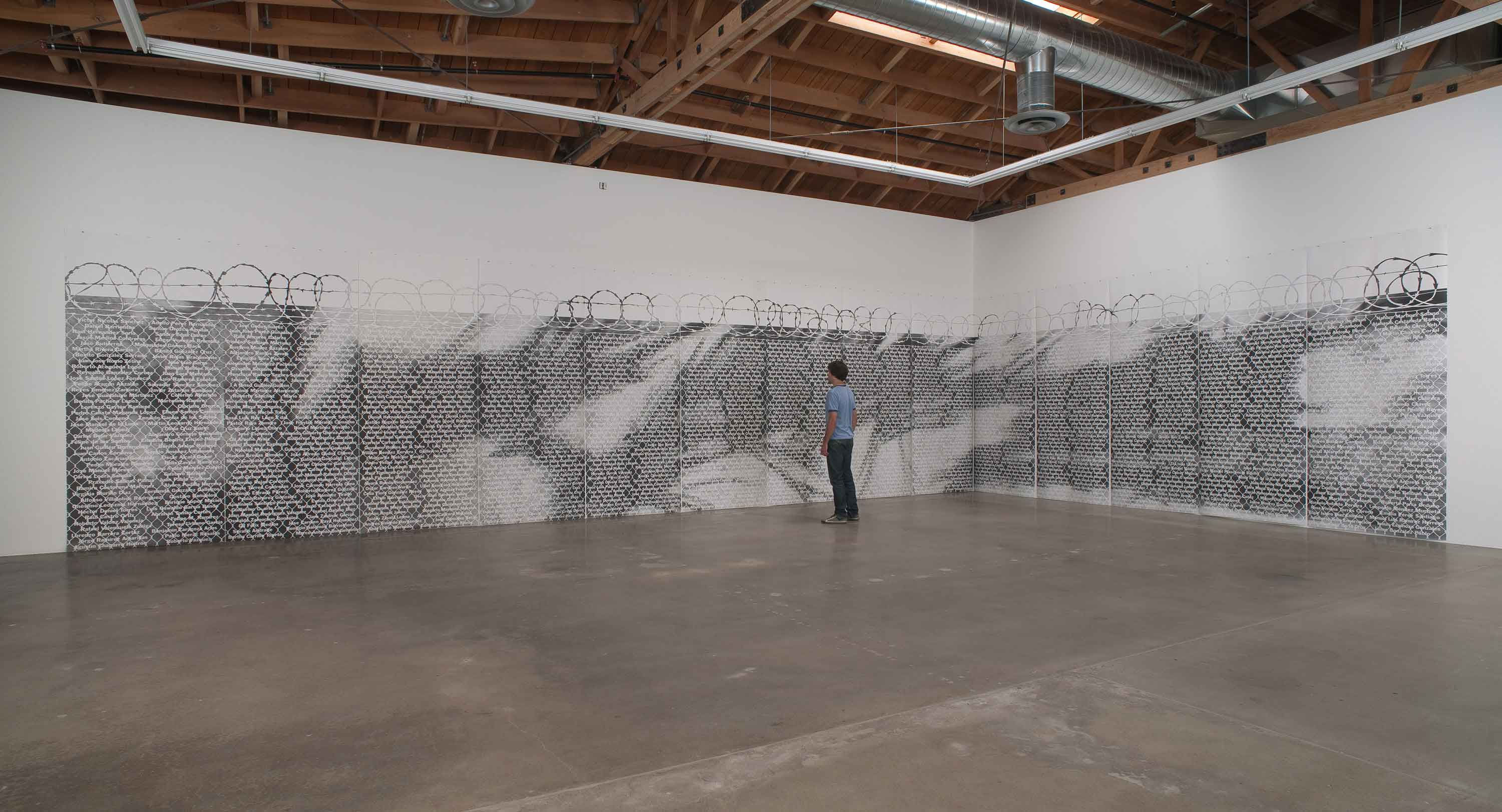 "Andrea Bowers, No Olvidado - Not Forgotten, 2010, graphite on paper, 23 drawings, 50"" x 120"" each. Photo credit: Robert Wedemeyer. All images are courtesy of the artist and Susanne Vielmetter Los Angeles Projects."