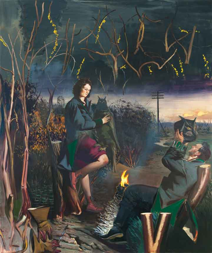 "Neo Rauch, Aprilnacht, 2011, oil on canvas, 118 1/8"" x 98 3/8"". Courtesy of David Zwirner, New York and Galerie Eigen + Art, Leipzig/Berlin."