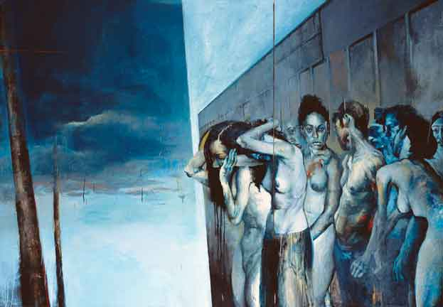 "Jason Shawn Alexander, Migration, 2011, oil on paper, 109"" x 76"""