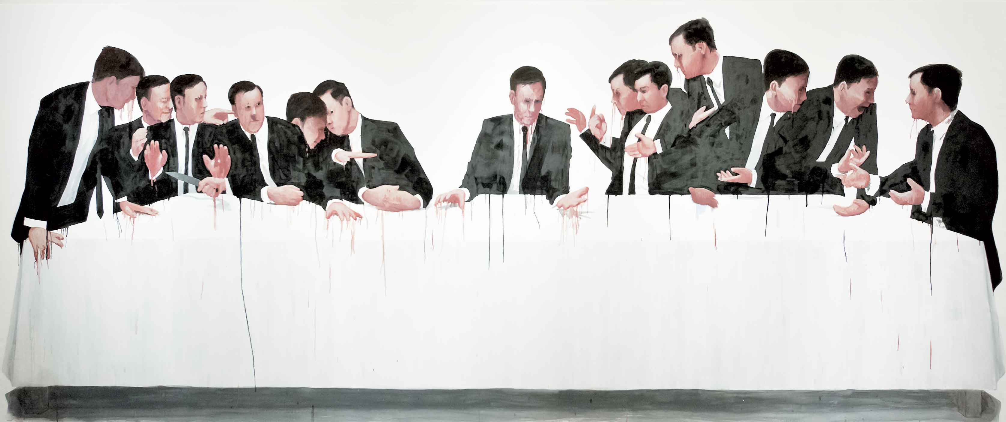 "Erik Sigerud, Post Mortem, 2009, oil and vinyl on canvas, 74.8"" x 177."" Courtesy of the artist."