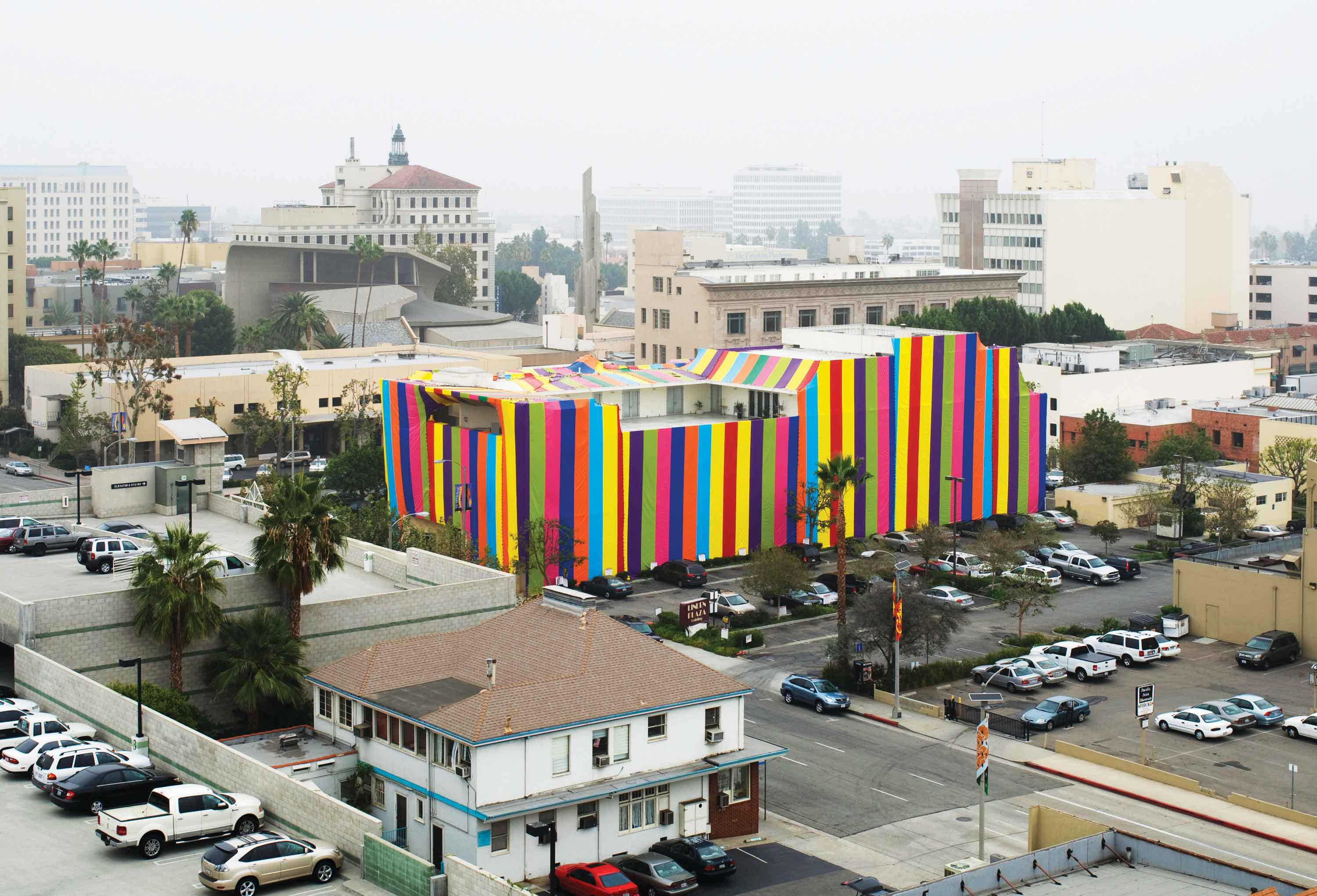 Inside Out, 2007, site-specific installation at Pasadena Museum of California Art, vinyl tarps, sandbags, pony clips. Photo: Robert Wedemeyer   