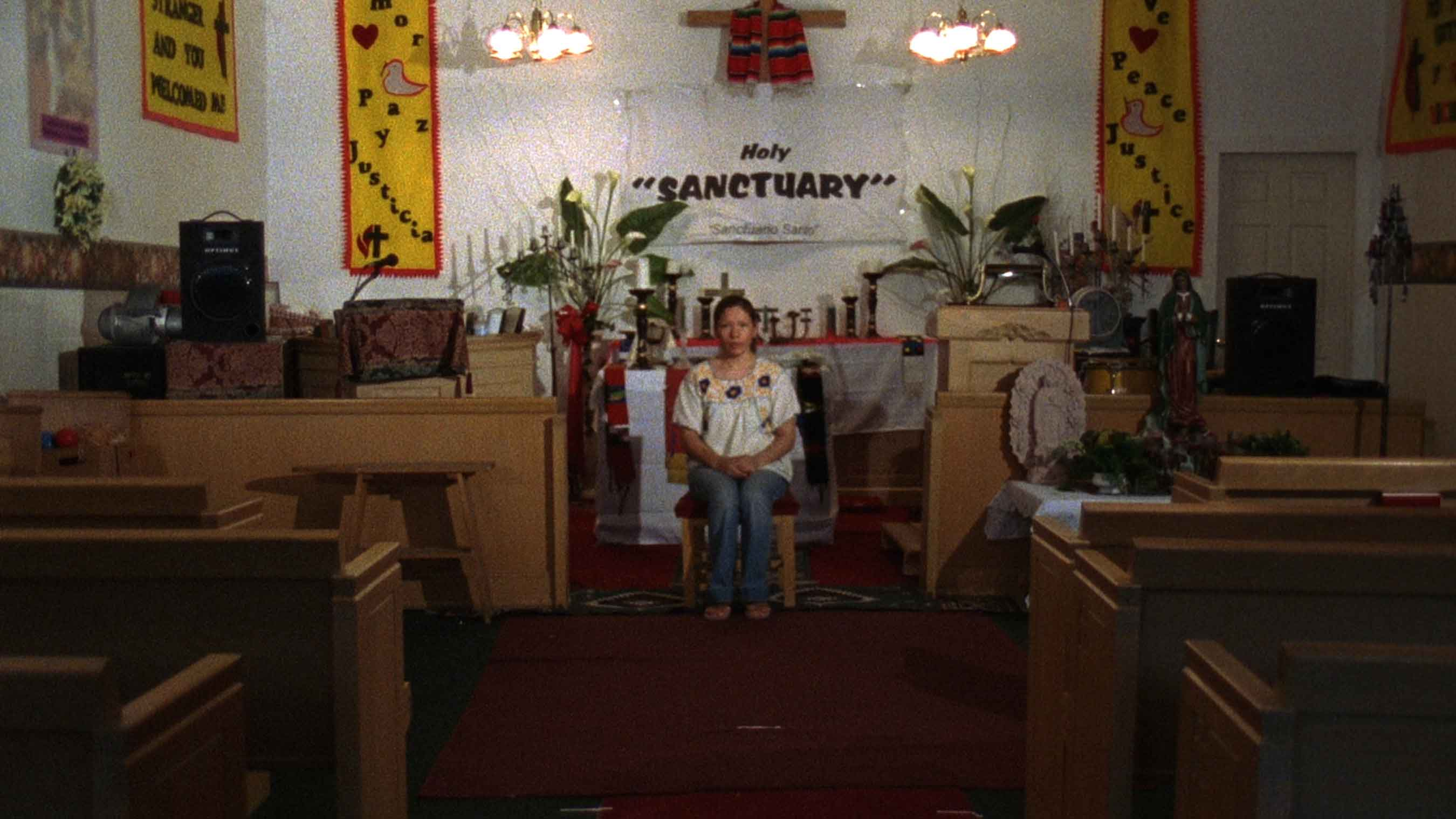 Sanctuary, 2007, film still, 16 mm film transferred to HD video, (color, silent, 6:43 min. looped), DV media player, HD projector, CF card. Editor Fil Rüting.