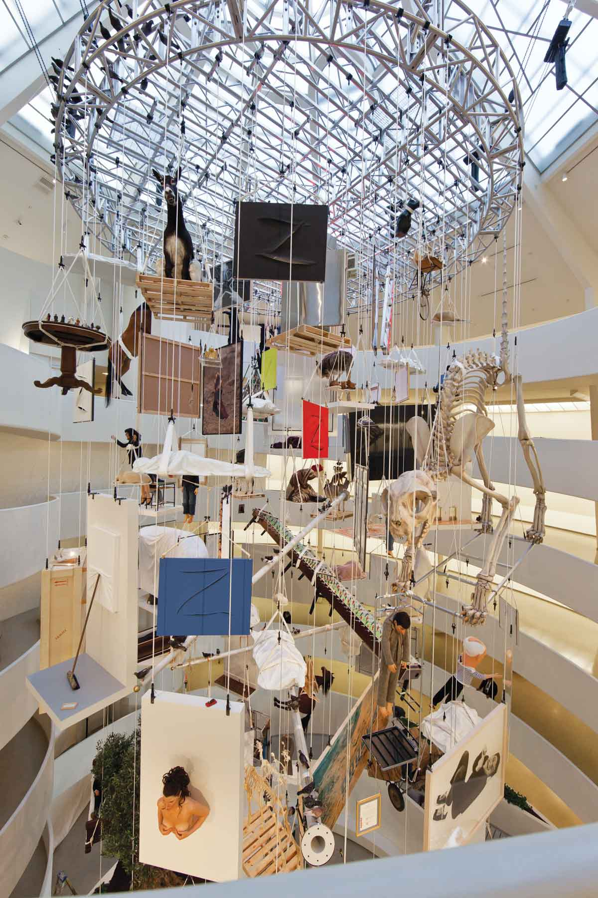 "Installation view: ""Maurizio Cattelan: All,"" Solomon R. Guggenheim Museum, (November 4, 2011 - January 22, 2012). Photo: David Heald. © Solomon R. Guggenheim Foundation."