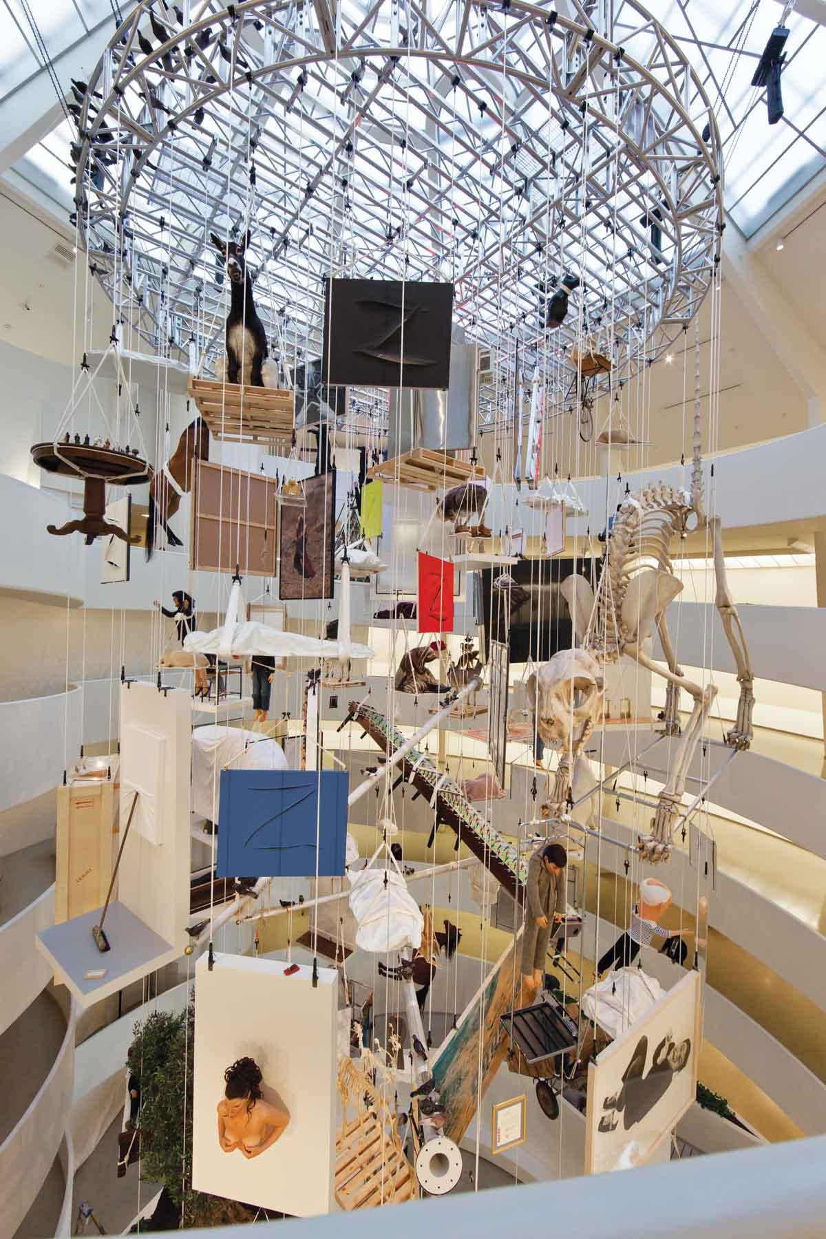 """Installation view: """"Maurizio Cattelan: All,"""" Solomon R. Guggenheim Museum, (November 4, 2011 - January 22, 2012). Photo: David Heald. © Solomon R. Guggenheim Foundation."""