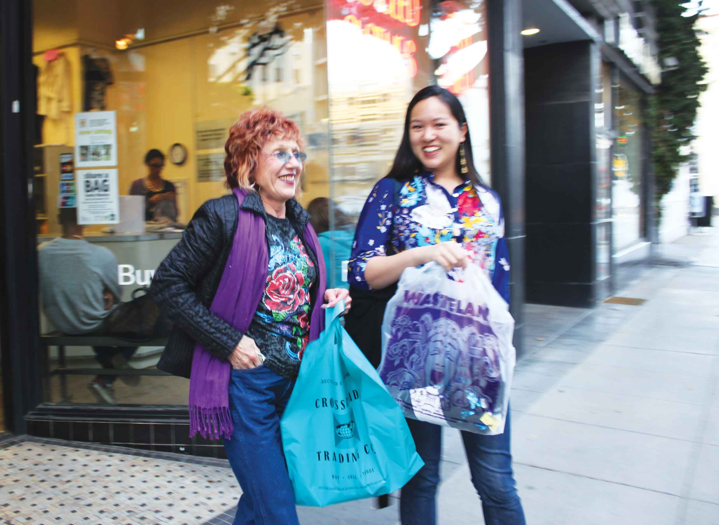 Audrey Chan and Judy Chicago, shopping and performance, Los Angeles, 2012. Photo: Elana Mann.