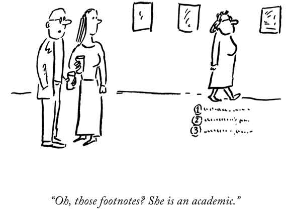 "Pablo Helguera, ""Oh, those footnotes? She's an academic"". 2010 (Artoon), drawing on paper. Courtesy of Pablo Helguera/Jorge Pinto Books Inc, New York."