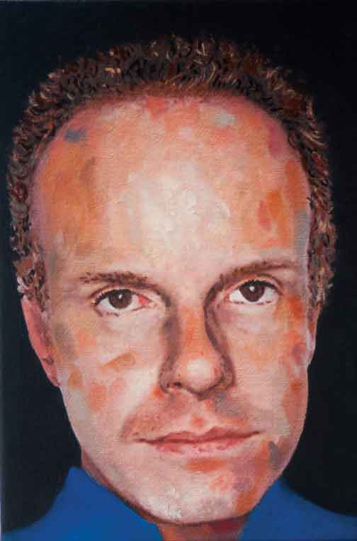 "Jorge Zeno, Untitled (Hans-Ulrich Obrist), 2012, oil on canvas, 8"" x 5"". Courtesy of the artist."