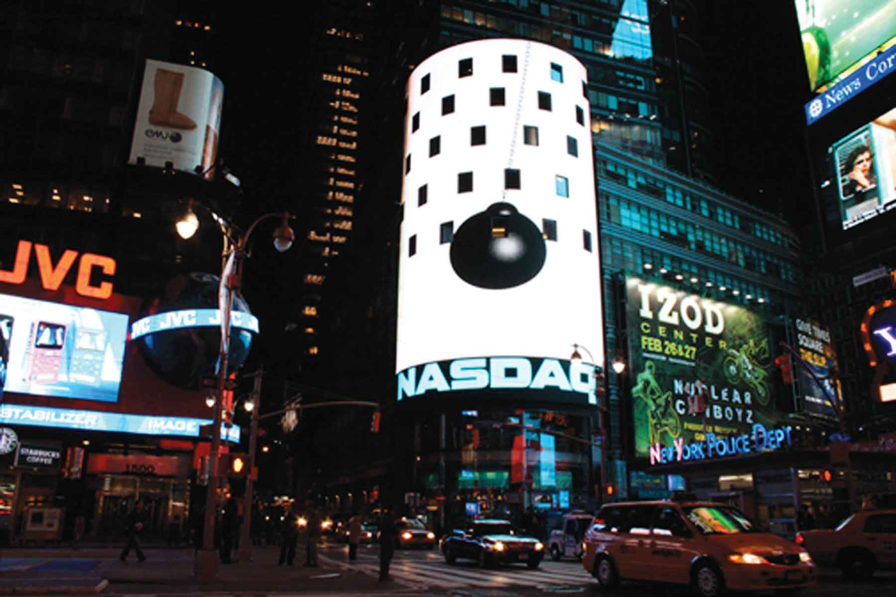 "Black Sun on NASDAQ Billboard, Times Square, 2010, C-Print, 44"" x 66"""