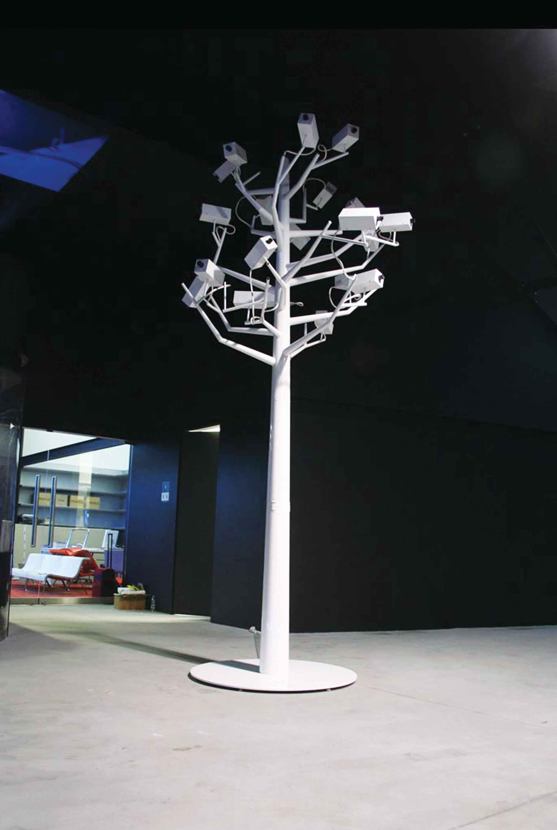 "Garden of Mistrust, 2005, aluminum, surveillance cameras and projectors, 157"" x 71"""