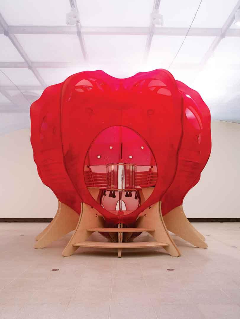 Ernesto Neto, Circleprototemple, 2010, installation, Plywood, polyaminde foam, cotton coruroy, elastic cord, samba drum, drumstick. Courtesy of Galeria Fortes Vilaça, Sao Paulo