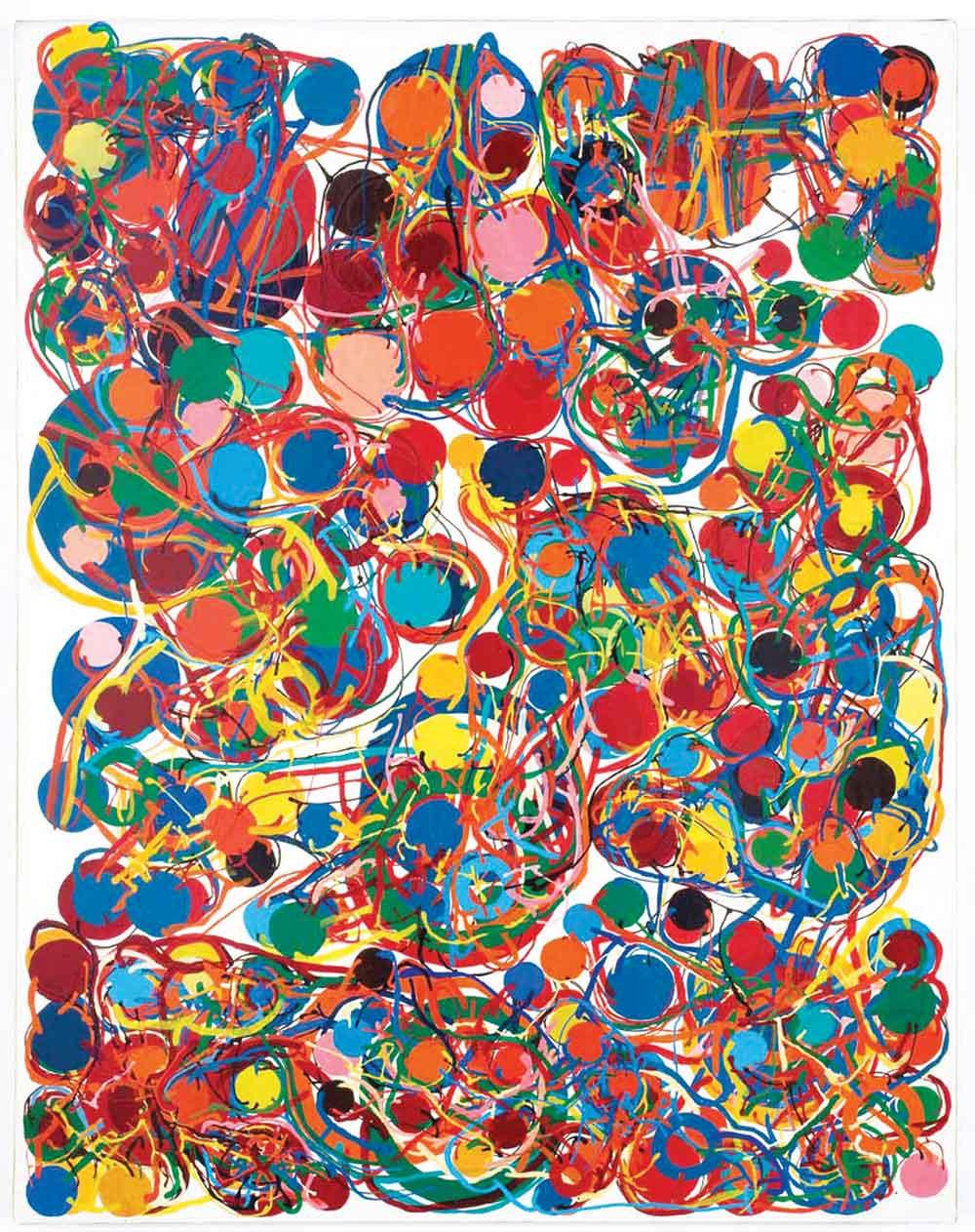 "Atsuko Tanaka, Work, 1969, Vinyl paint on canvas, 45 5/8"" x 35 7/8"". © Ryoji Ito Photo: Antonio Maniscalco. Courtesy Hauser & Wirth."