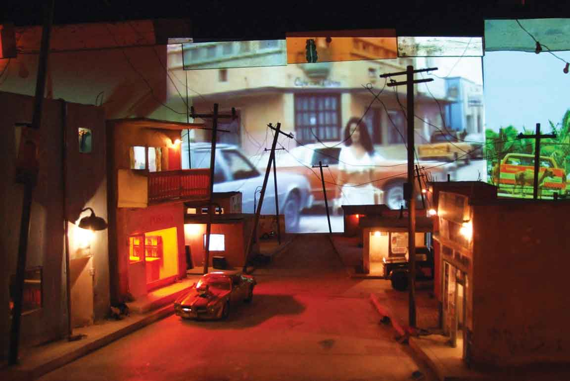 Bordertown, 2010, mixed media installation with sculptures, lights and projections.