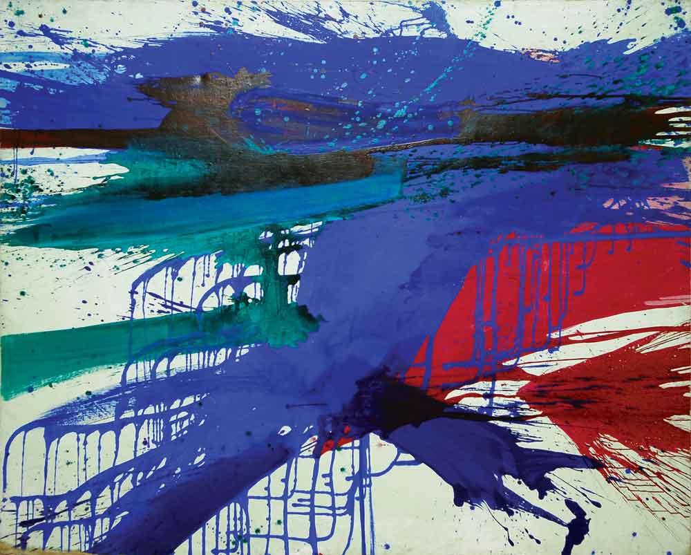 "Edward Clark, Blue Force, 1960, oil on canvas, 74"" x 82"""