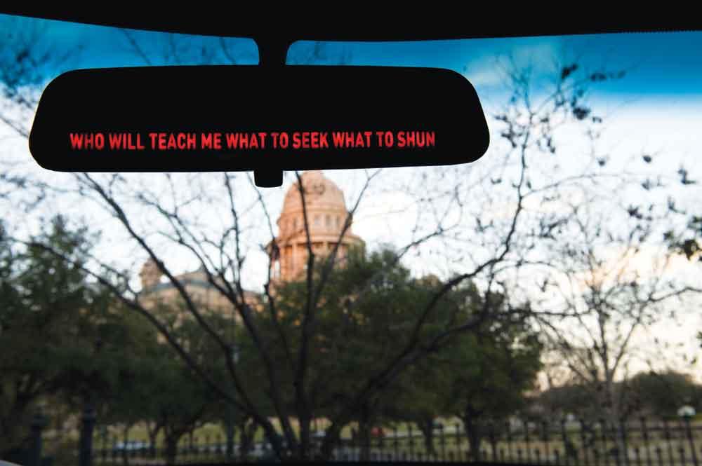 Jill Magid, Failed States, 2012, mixed media installation, detail of rearview mirror.
