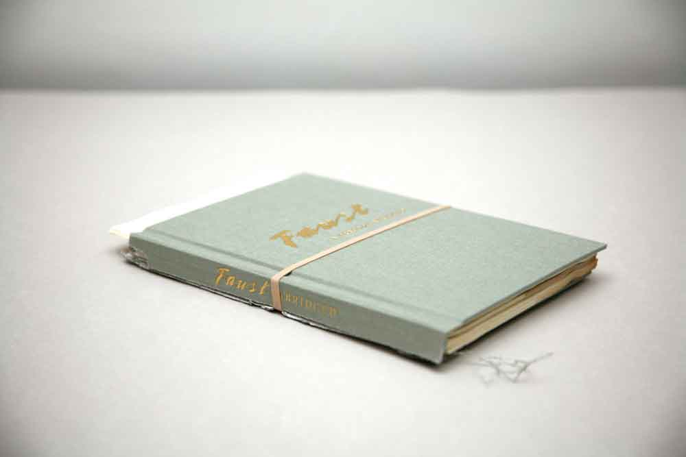 Jill Magid, Faust, A Tragedy Abridged, 2012, Torn hardcover book.