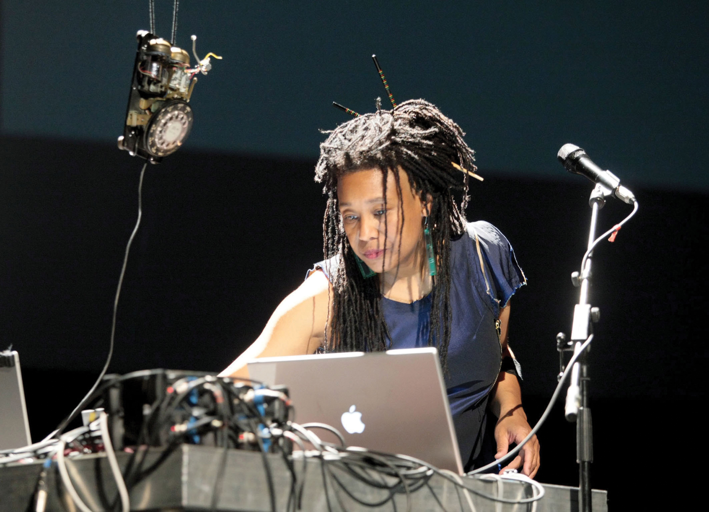Pamela Z performing at Ars Electronica in Linz, Austria. Photo courtesy of Ars Electronica.