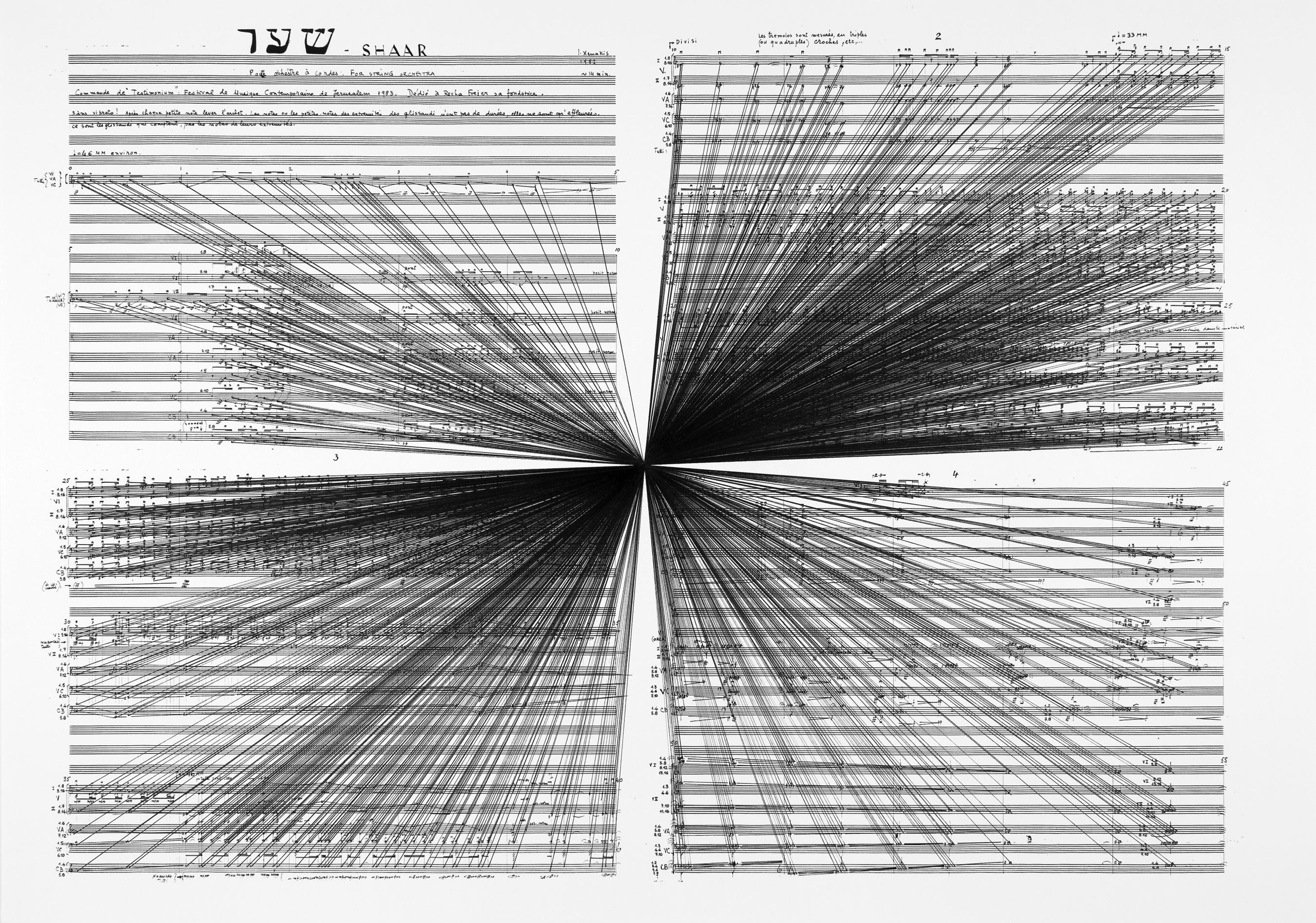 Marco Fusinato. Mass Black Implosion (Shaar, Iannis Xenakis), 2012, ink on archival facsimile of score, Part 1 of 5 parts, 32.3 x 43.1.″