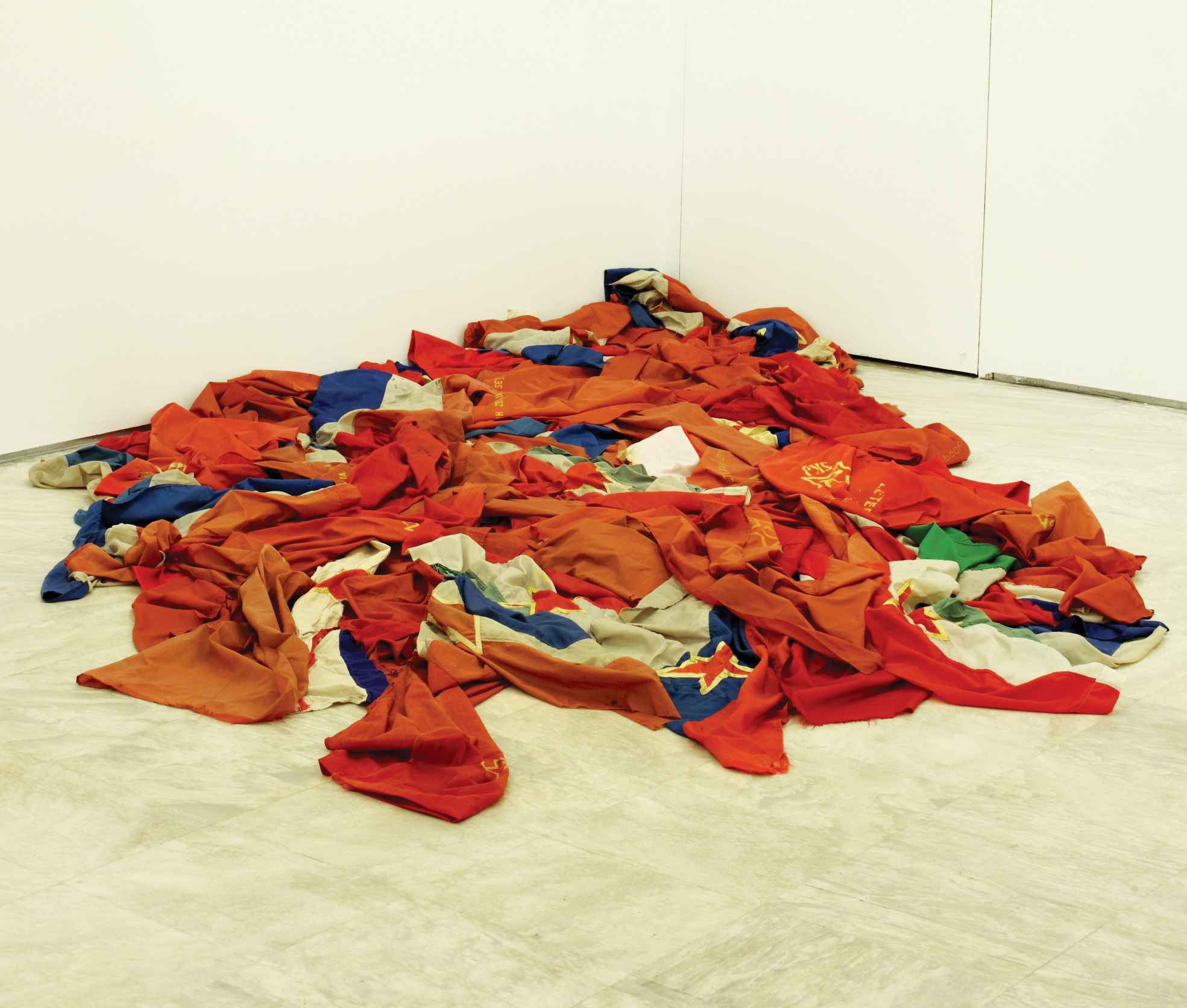 Ivan Grubanov, Dead Flags, (detail), 2011, installation, vintage flags. Photo: Vivianna Athanassopoulou.