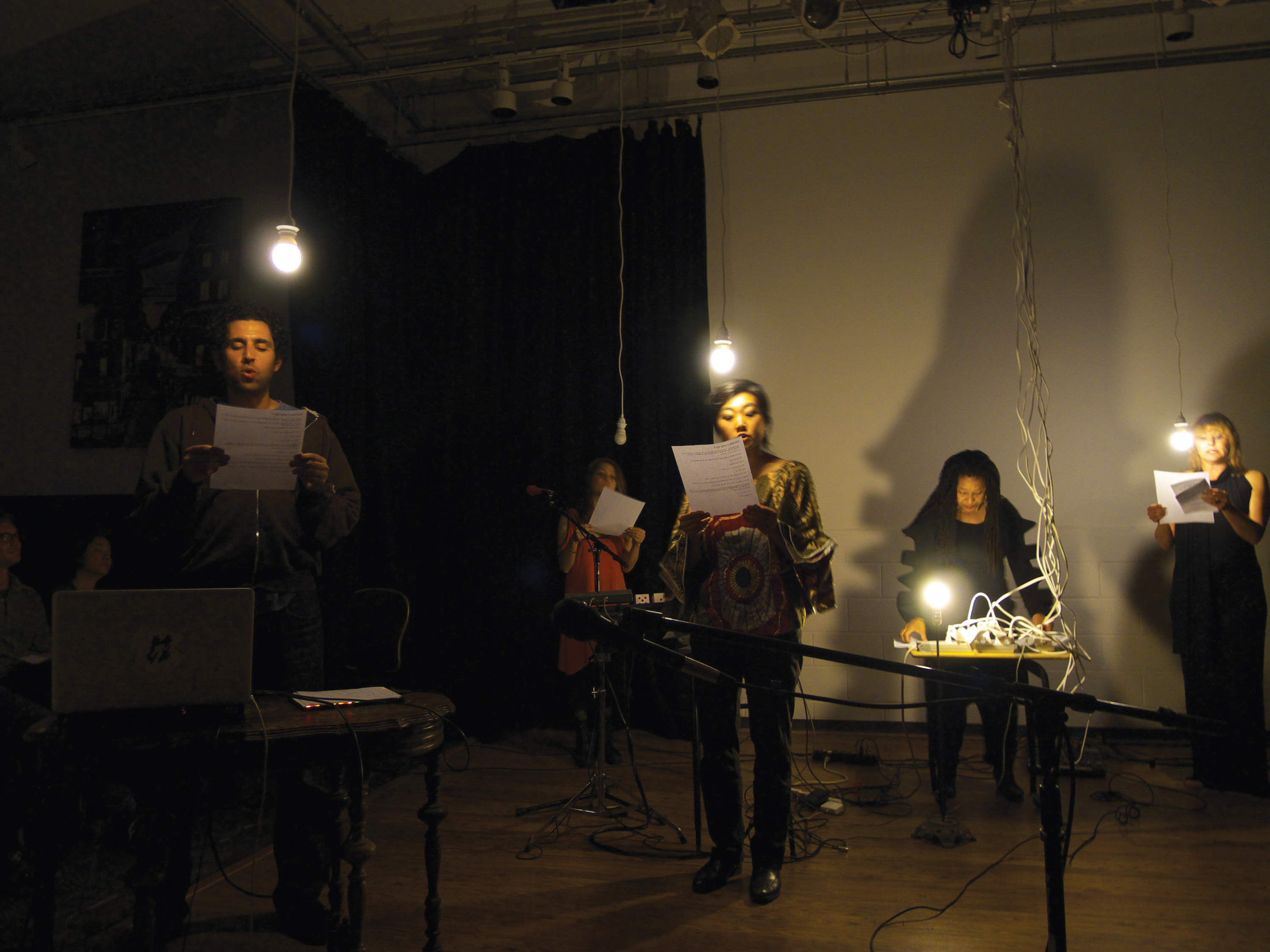 "ROOM Series ""VoiceCage"" (an evening celebrating John Cage.) From left to right: Jake Rodríguez (the bran..pos), Amy X Neuburg, Theresa Wong, Pamela Z, Julie Queen. All performing Pamela Z's arrangement of ""Intro to Variations IV."" Photo: Donald Swearingen."