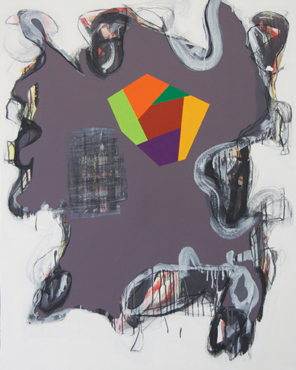 "Peter Plagens, I Don't Give a Damn / Every Moment Counts, 2010, mixed media on canvas, 48"" x 38"". Nancy Hoffman Gallery, New York."