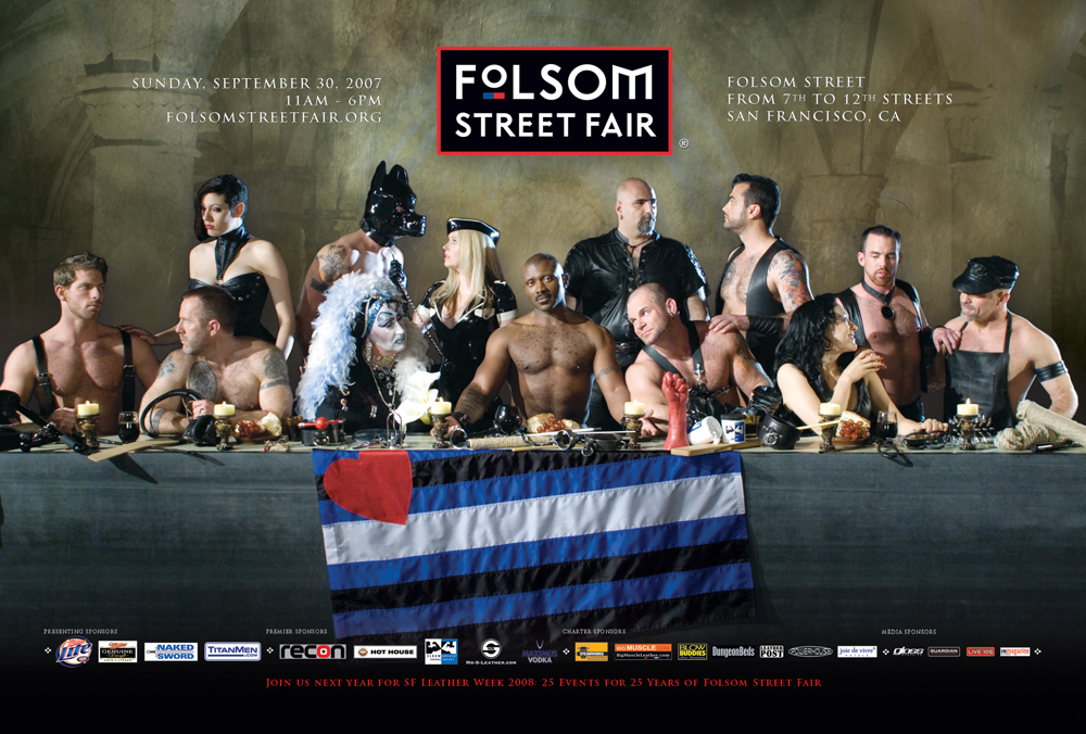 """Leather Last Supper"" poster of the Folsom Street Fair, an annual BDSM and leather subculture event in San Francisco. Photo: Fred R. McMullen. Courtesy Folsom Street Fair."