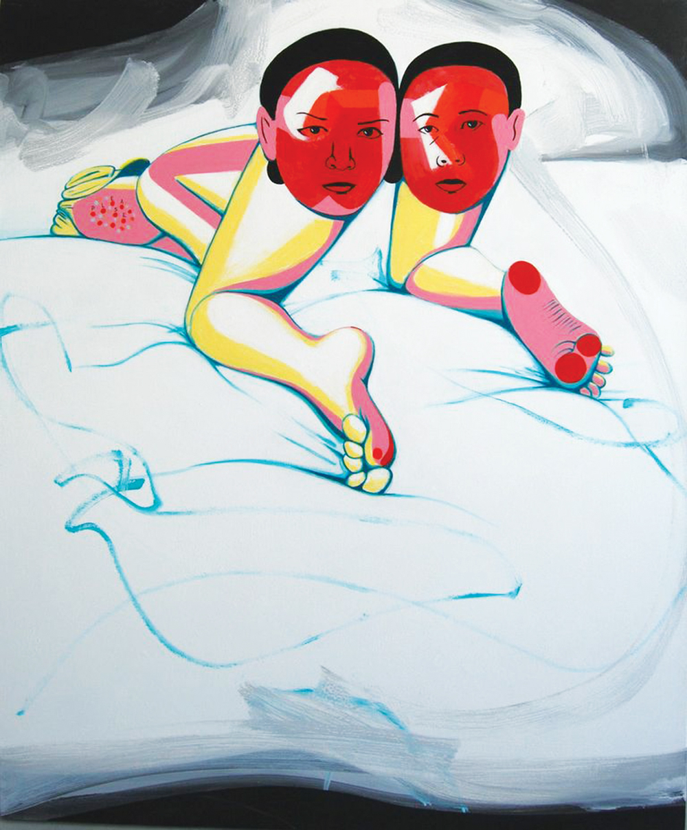 "David Humphrey, A Pair of Mugs, 2013, acrylic on canvas, 44"" x 54."""
