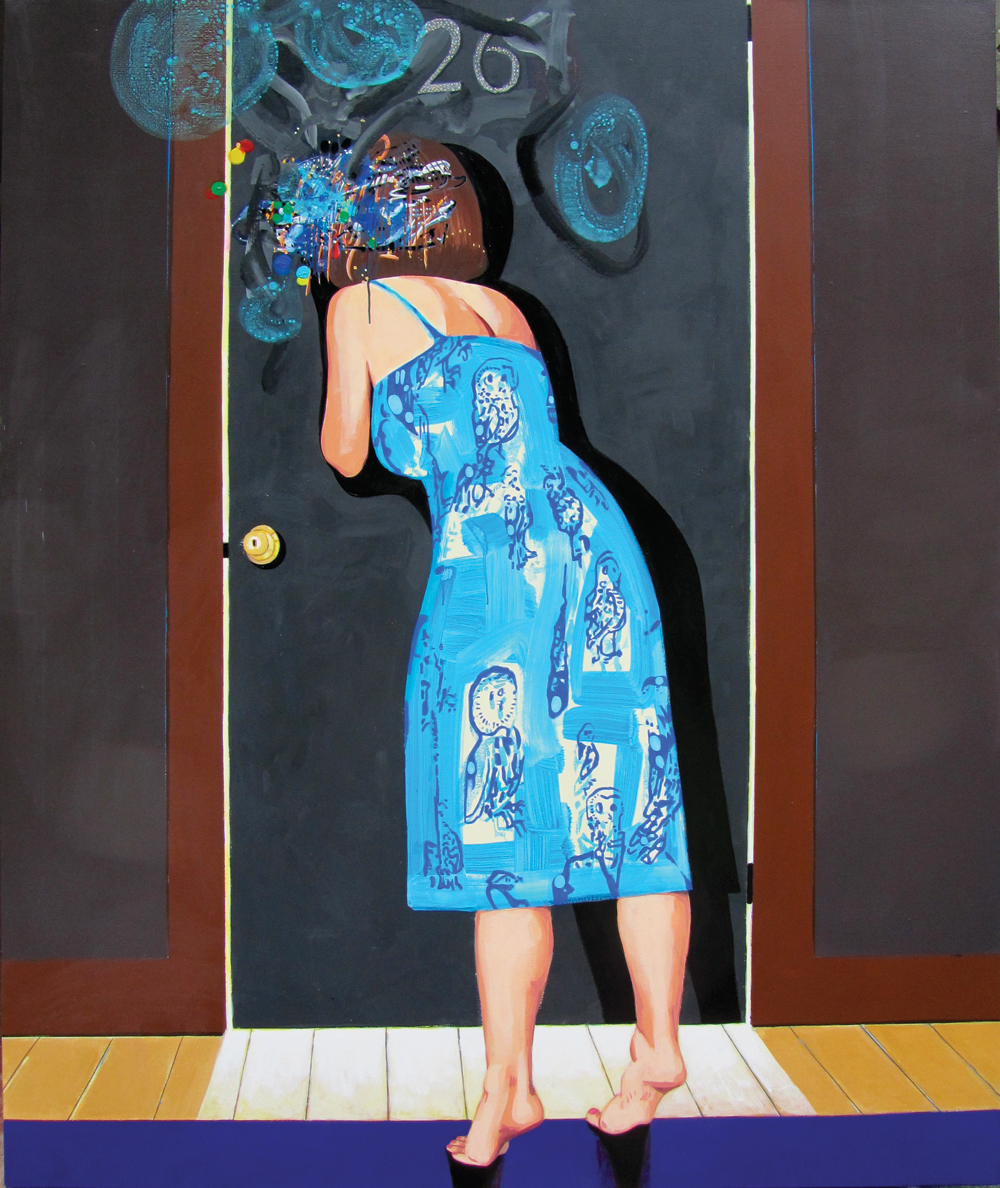 "David Humphrey, At the Door, 2011, acrylic on canvas, 72"" x 60."""