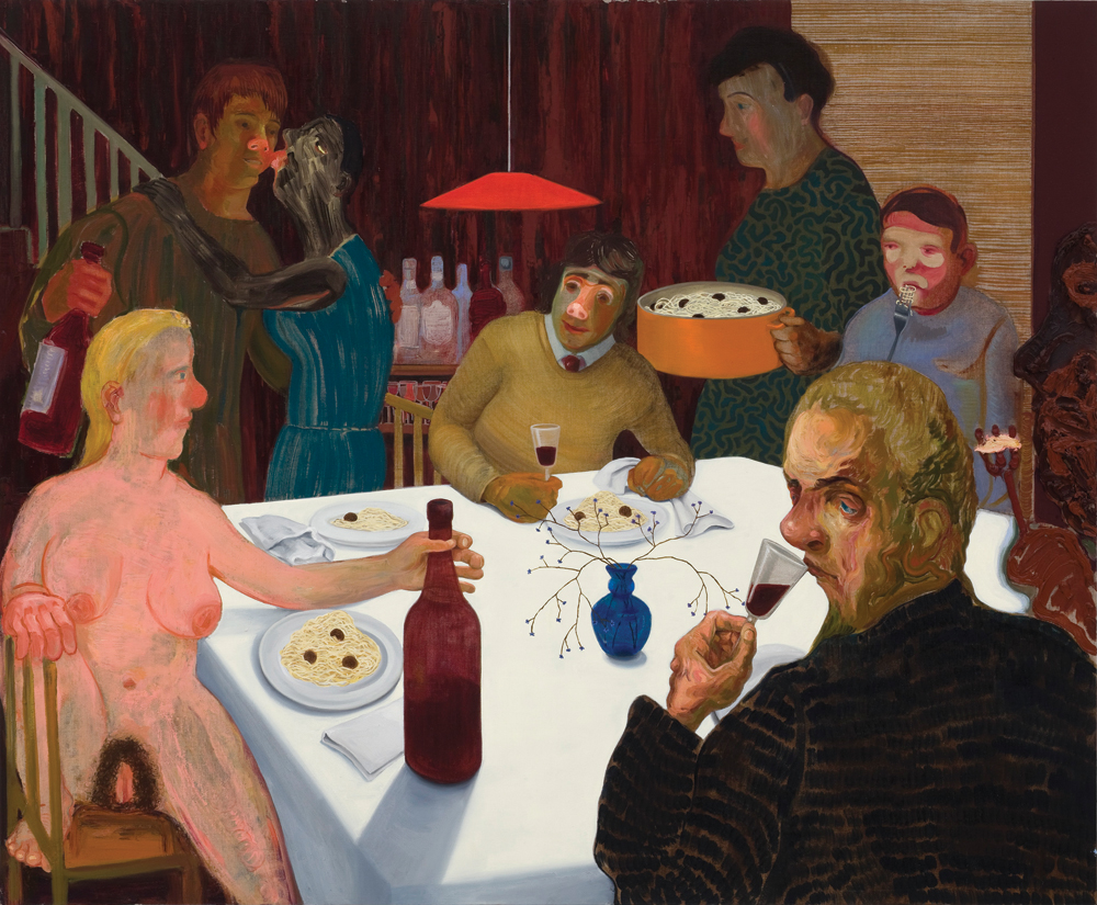 "Nicole Eisenman, The Sunday Night Dinner, 2009, oil on canvas, 42""x 51"". Collection of Arlene Shechet and Mark Epstein. All images are courtesy the artist and Koenig & Clinton, New York. Photos: Thomas Mueller, New York."