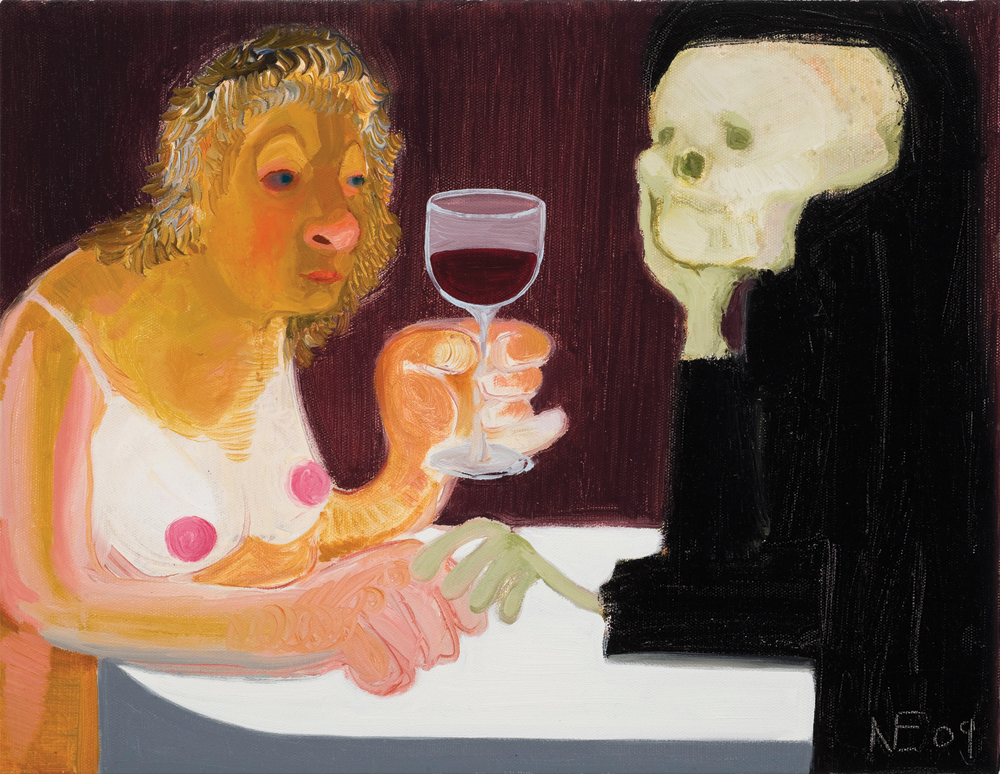 "Nicole Eisenman, Death and the Maiden, 2009, oil on canvas, 18"" x 14 ½"". Collection of Martin and Rebecca Eisenberg."