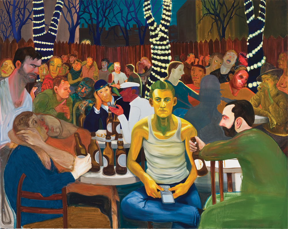 "Nicole Eisenman, Beer Garden with Ash, 2009, oil on canvas, 65"" x 82."" Private collection, Switzerland."