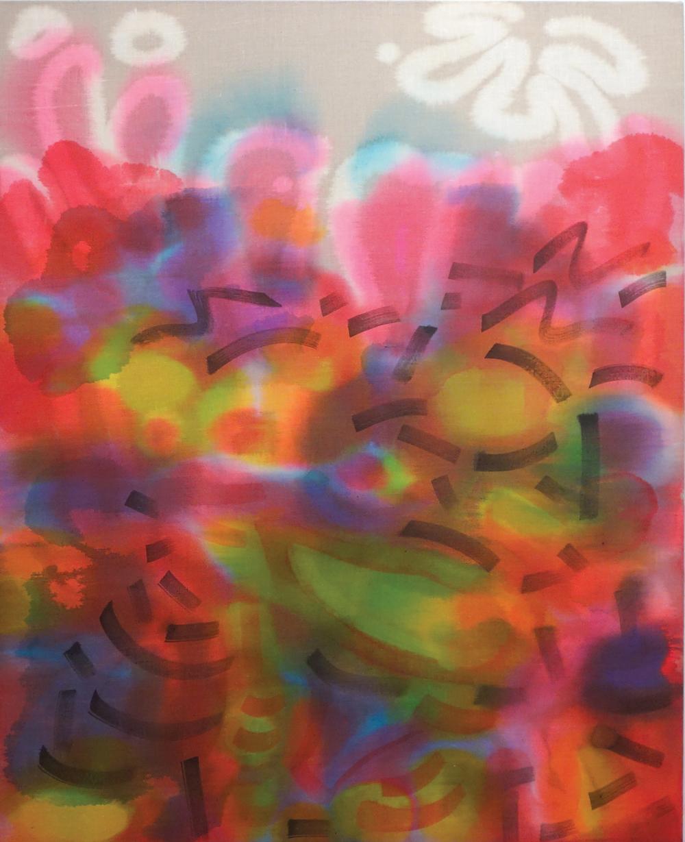 "Saira McLaren, Club Scene, 2013, fabric dye on raw linen, 45"" x 36"". Photo: Mike Hein. Courtesy of the artist."