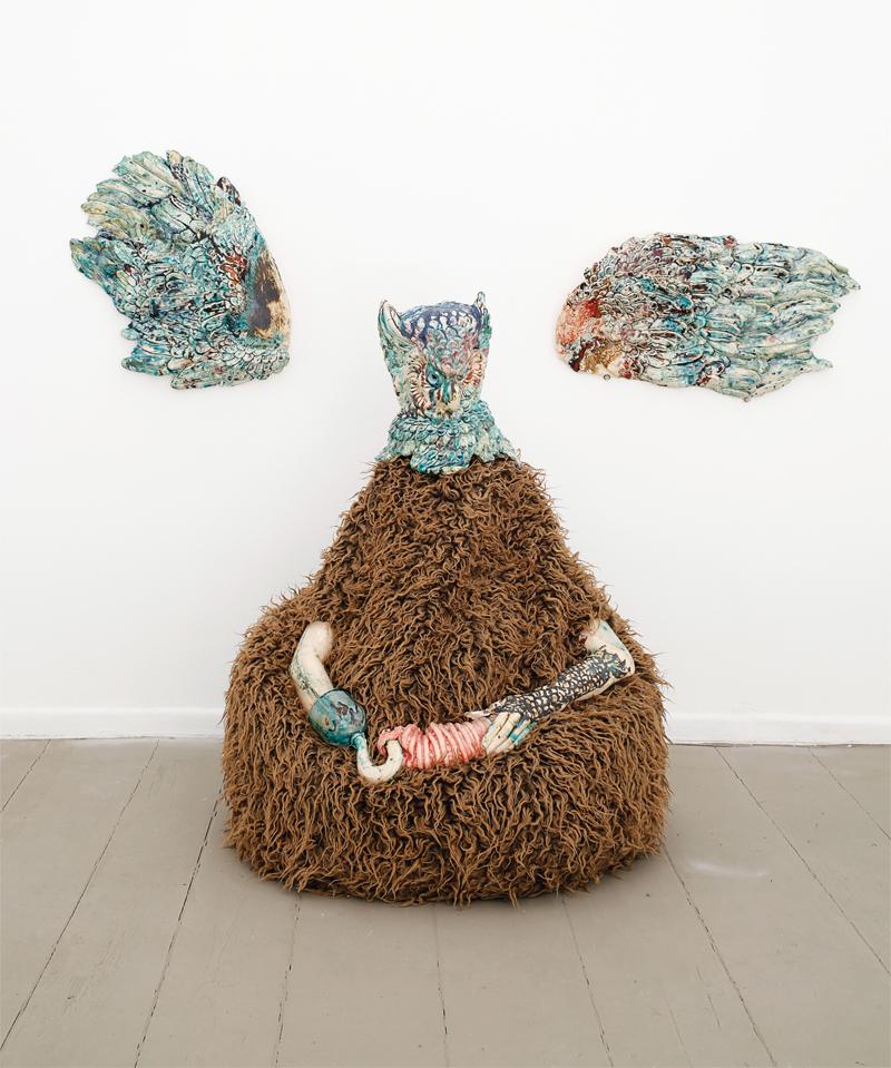 "Kris Lemsalu, In My Bathtub I ́m The Captain, 2012, ceramics, textile, metal, approx. 40"" x 30"" x 27.2."" Courtesy of Galerie Tanja Wagner, Berlin."