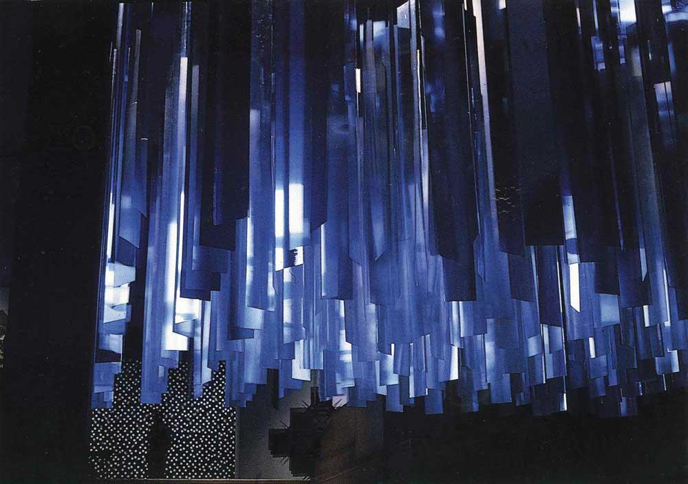 """Julio Le Parc, Continual Mobiles, 89"""" x 158"""" x 158."""" Installation view from """"Nouvelle Tendance,"""" Palais du Louvre, Paris, 1964. Courtesy Atelier Le Parc and Lélia Mordoch Gallery."""