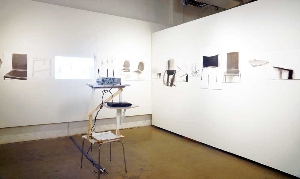 Shana Kaplow, Close to Home: Chairs, 2014, ink on paper, video projections, projector stands made from scrap wood and manufactured furniture parts. Installation view at Rosalux Gallery, Minneapolis. Photo: Petronella Ytsma.