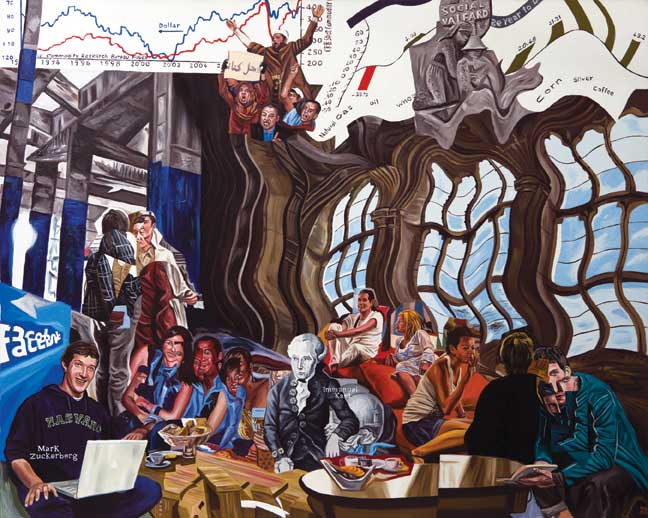 "Walter Bortolossi Immanuel Kant meets Mark Zuckerberg, 2011, oil on canvas, 47.24"" x 59."" Courtesy the artist."