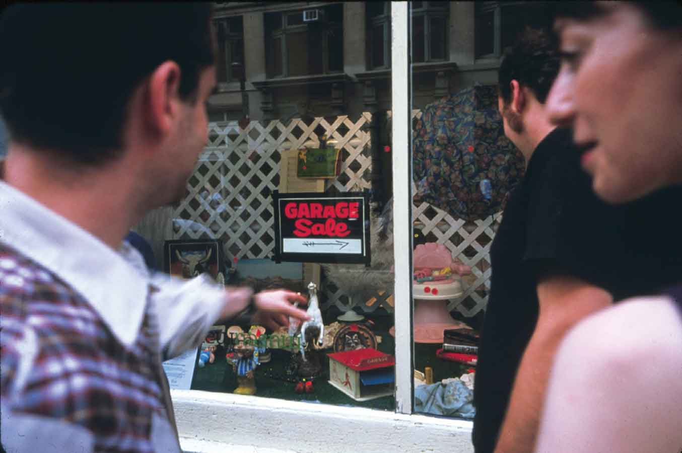 Martha Rosler, Window display for Monumental Garage Sale, New Museum, New York, 2000.