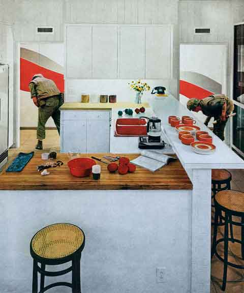 Martha Rosler, Red Stripe Kitchen, from the series House Beautiful: Bringing the War Home, 1967-1972