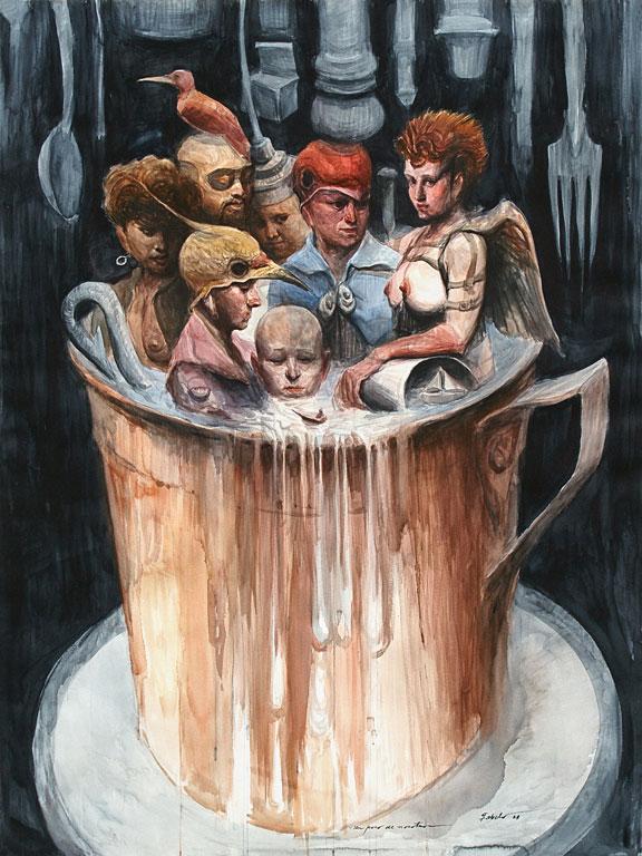 """Roberto Fabelo, Un Poco de Nosotros (A Bit of Us), 2008, watercolor on heavy paper, 60 ½"""" x 44 ½."""""""