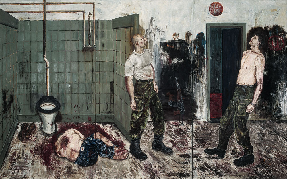 Ronald Ophuis, Execution, Srebrenica 1995, 1996, oil on linen, 8.5 ft. x 13.7 ft. Courtesy Gallery Aeroplastics, Brussels/Upstream Gallery, Amsterdam.