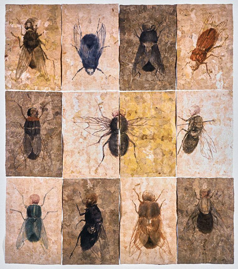 Roberto Fabelo, Como moscas (Like Flies), 2010, watercolor on amate paper, variable dimensions.