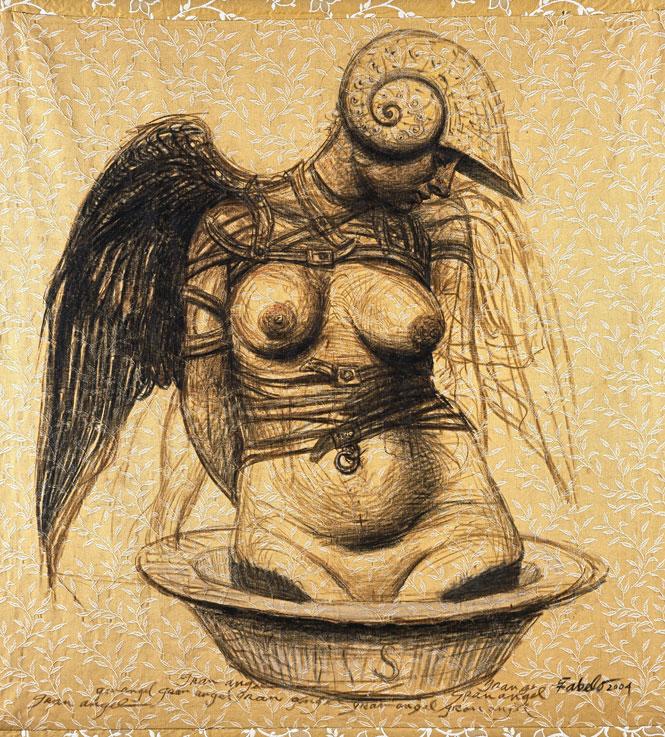"Roberto Fabelo, Gran angel (Big Angel), 2004, oil on fabric, 56"" x 55."""