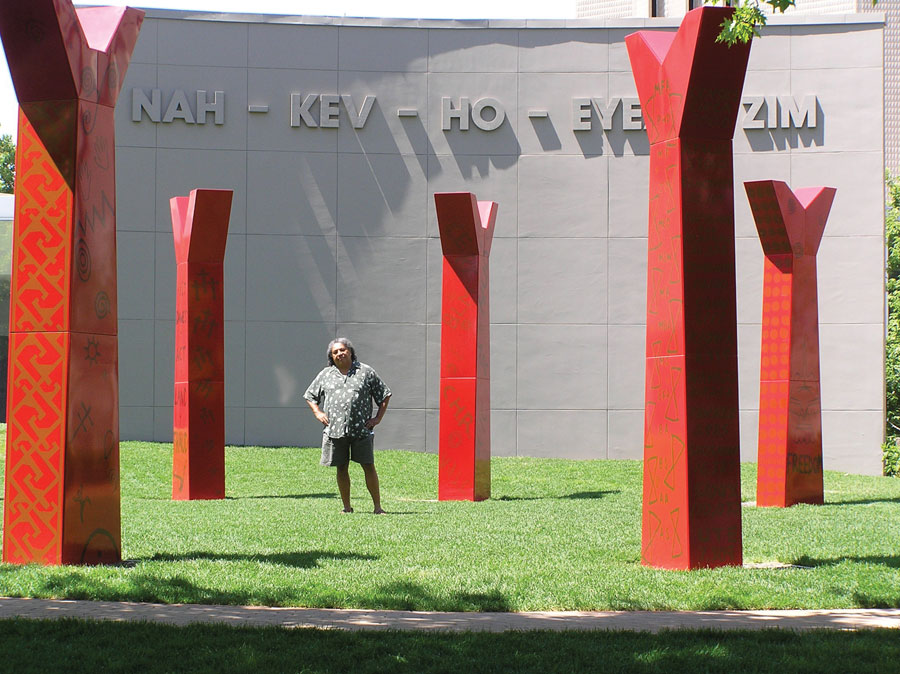 Edgar Heap of Birds with Wheel, 2005, sculptural installation at Denver Art Museum. Courtesy of the artist.