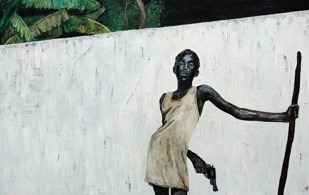 "Ronald Ophuis, Girl with Gun, Sierra Leone 2001, 2011, oil on linen, 78.7"" x 133.8."" Courtesy Galerie Bernard Ceysson, Paris/ Upstream Gallery, Amsterdam."