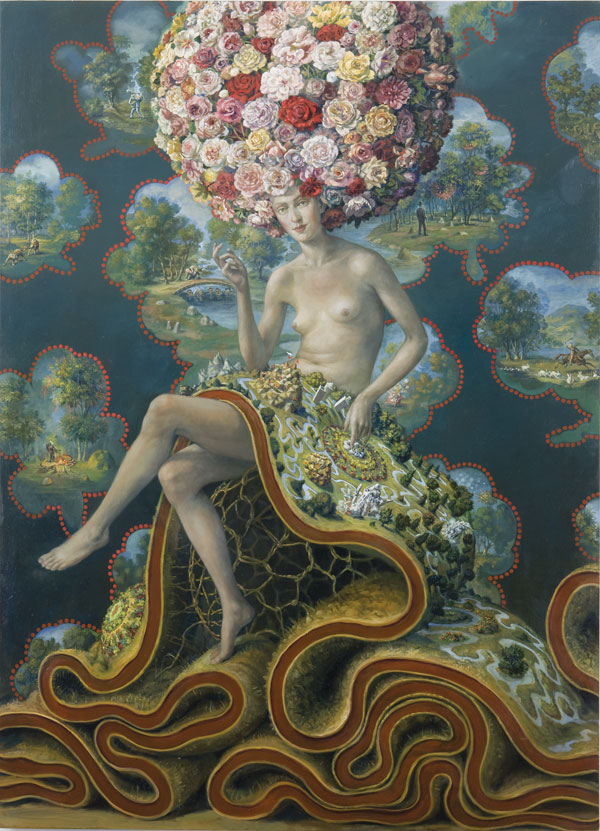 "Julie Heffernan, Self- Portrait Sitting on a World, 2008, oil on canvas, 78"" x 56."""