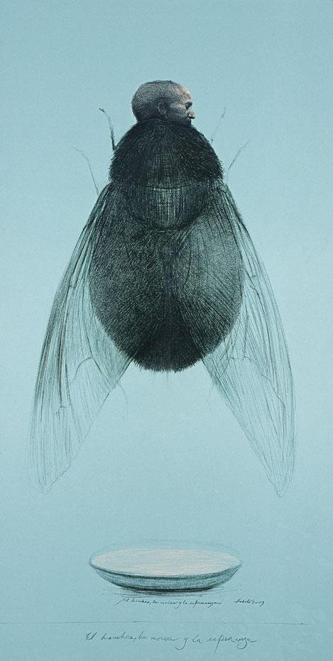 """Roberto Fabelo, El hombre, la mosca y la esperanza (The Man, The Fly and The Hope), 2009, crayon on masonite, 88"""" x 48."""""""