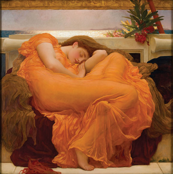 """Frederic Leighton (1830-1896), Flaming June, 1895, oil on canvas, 47 3/8"""" x 47 3/8"""". Museum of Art of Ponce, Ponce, Puerto Rico. Photo: Artrenewal.org. Courtesy https://commons.wikimedia.org."""