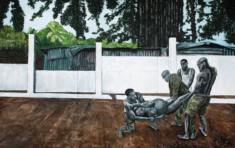 "Ronald Ophuis, The Bet, Boy or Girl, Sierra Leone 2001, 2014, oil on linen, 133.8"" x 212.5."" Courtesy Gallery Aeroplastics, Brussels/Upstream Gallery, Amsterdam."