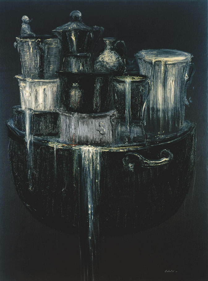 """Roberto Fabelo, Untitled, 2007. From """"País en que los desechos son amados todavía"""" (Land Where the Waste is Still Loved) series, oil on canvas, 63"""" x 47."""""""